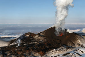 Beautiful nature of Kamchatka: eruption Tolbachik Volcano. Russia, Far East, Kamchatka Peninsula.