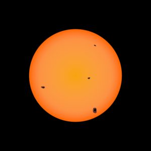 Illustration of the sun with spots due to solar activity, as seen with telescopes with solar filter